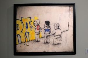 2013-03-06 (115) Art of buffing, Crayon, pierre noire, gouache et spray sur papier marouflé sur toile, 2010, Dran, Collection particulière