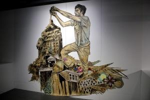 2013-03-06 (77) Ben, Gravure originale sur linoleum imprimée sur Mylar et peinte à la main variante unique non numérotée, 2012, Swoon, Collection particulière courtesy Galerie LJ