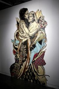 2013-03-06 (78) Alixa & Naima, Gravure originale sur linoleum imprimée sur Mylar et peinte à la main, variante unique non numérotée, 2011, Swoon, Collection Galerie LJ