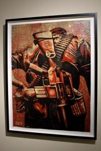 2013-03-06 (88) Dual of Humanity 3, Sérigraphie couleur avec encrage et rehaut de peinture (Hand Peinted Multiple), 2008, Shepard Fairey, Collection particulière