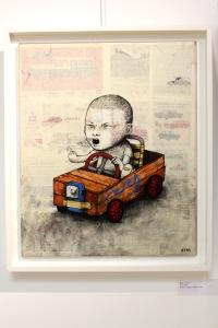 Art urbain - Dran, (France), Fuck, 2009, Crayon, collage et huile sur toile