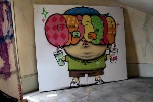 Art urbain - Dran & Gris 1, (France), sans titre, 2012, Bombe aérosol sur bois (3)