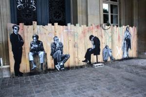 Art urbain - Jef Aerosol (France), Warhol, Basquiat, Keith Haring ..., 2013, Pochoir et peinture aérosol sur palissade (1)