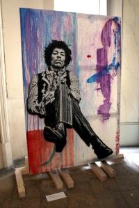 Art urbain - Jef Aréosol (France), Jimi Hendrix, 2013, Performance du 4 septembre 2013, Pochoir et peinture aérosol sur toile