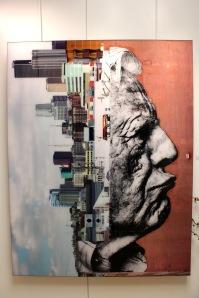 Art urbain - JR, (France), The wrinkles of tje city, Los Angeles-Robert Upside Down, Downtown, 2011 (1)